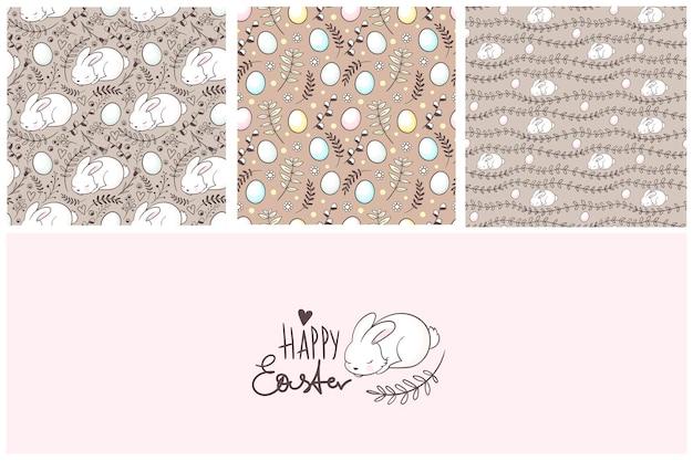 パターンとグリーティングカードのかわいいイースターセット素敵なイースターバニー手描きのレタリング