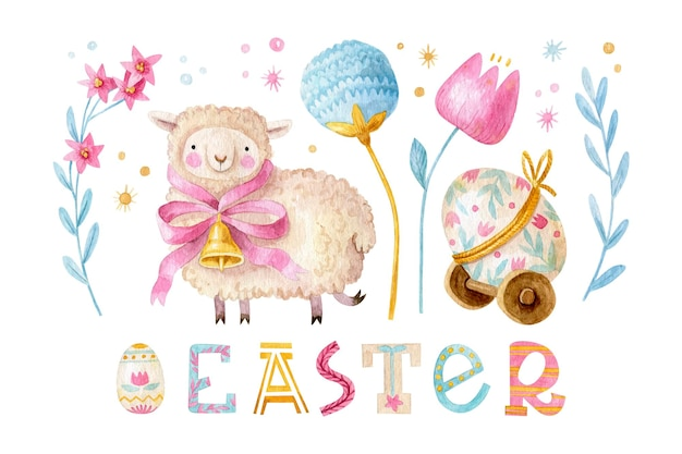 Cute easter set with sheep with bow and bell