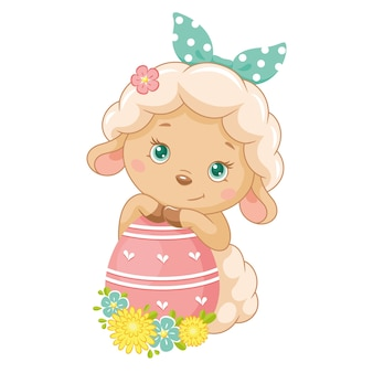 Cute easter sheep with egg on white background
