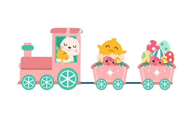 Cute easter train with rabbit and chick.