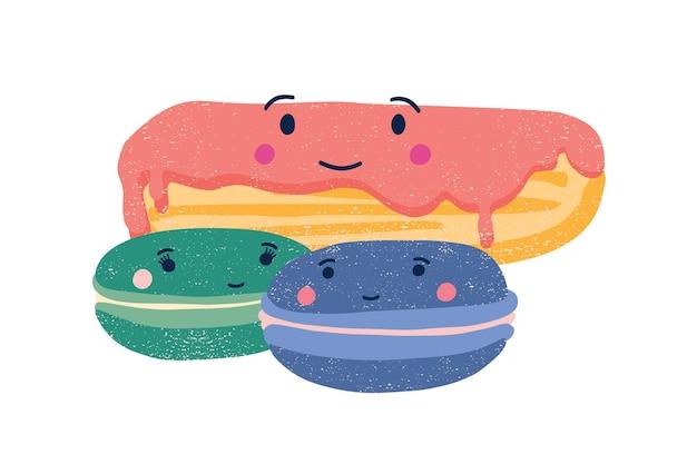 귀여운 eclair와 마카롱 평면 벡터 일러스트 레이 션. 사랑스러운 크림 케이크와 쿠키 만화 캐릭터. 달콤한 웃는 과자 흰색 배경에 고립입니다. 유치한 제과 메뉴 디자인 요소입니다.