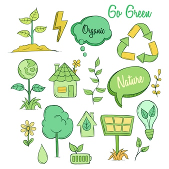 Cute eco icons with colored doodle style on white background