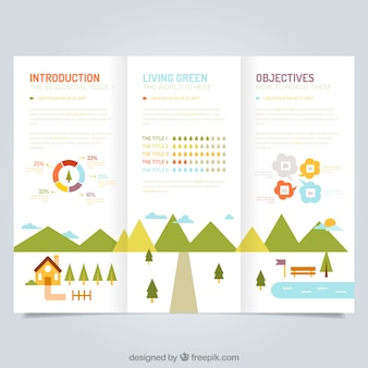 Cute ecological leaflet template