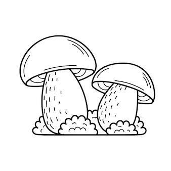 Милый съедобный гриб в стиле каракули. ингредиенты для приготовления салатов. осенний сбор растений. вектор изолированных рисованной иллюстрации для раскраски страниц, эскиз, наброски