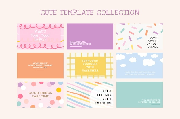 Cute editable templates vector set on pastel backgrounds with inspirational texts