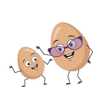 Симпатичные яйца характер смешные бабушка и внук с эмоциями, лицом, руками и ногами. счастливый или грустный кулинарный герой в очках. векторная иллюстрация плоский