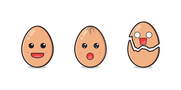 かわいい卵のキャラクターセット漫画アイコンイラスト。孤立したフラット漫画スタイルをデザインする