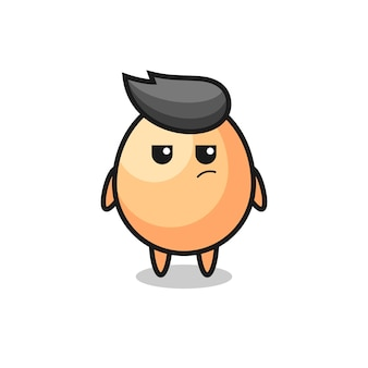 Cute egg character with suspicious expression , cute style design for t shirt, sticker, logo element