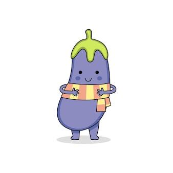 Симпатичный мультяшный персонаж из баклажанов в шарфе