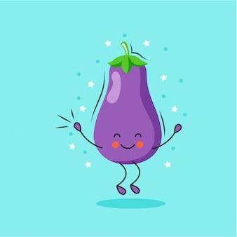 Cute eggplant cartoon character