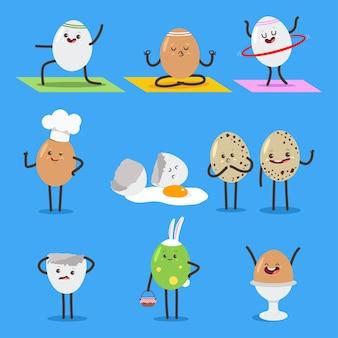 Cute eggs cartoon characters set isolated