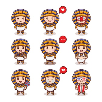 Cute egypt king with different expressions set