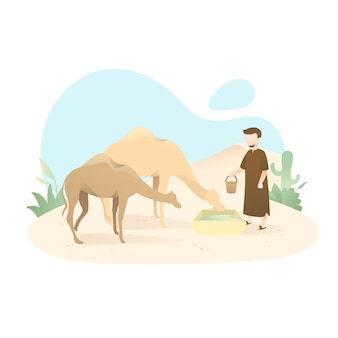 Cute eid al adha illustration