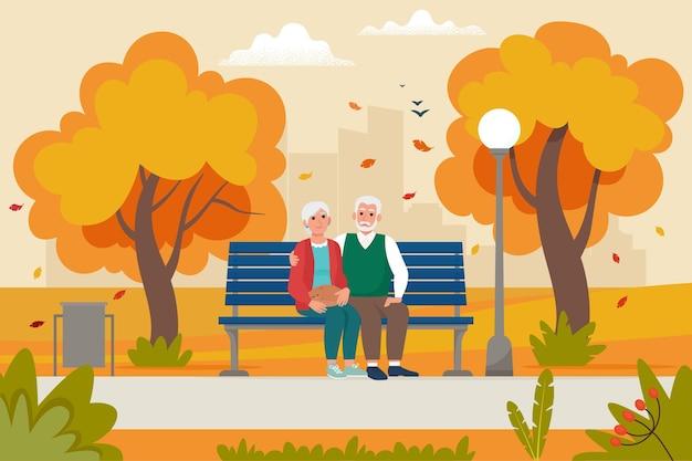 Милая пожилая пара, сидя на скамейке в парке осенью. векторная иллюстрация в плоском стиле