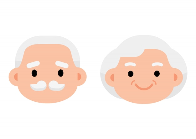 Cute elderly senior age couple icon