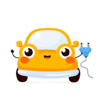 Симпатичный электромобиль в плоском дизайне