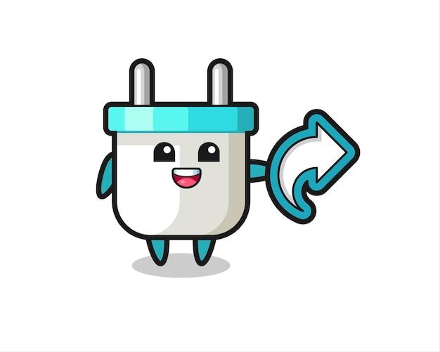 Симпатичная электрическая вилка удерживает символ доли в социальных сетях, милый стильный дизайн для футболки, стикер, элемент логотипа