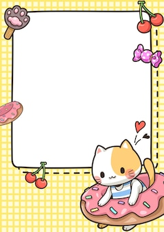 Cute element frame with cat and donut