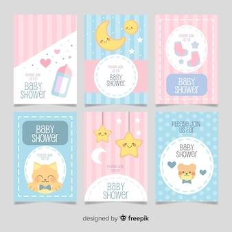 Cute elements baby shower cards pack