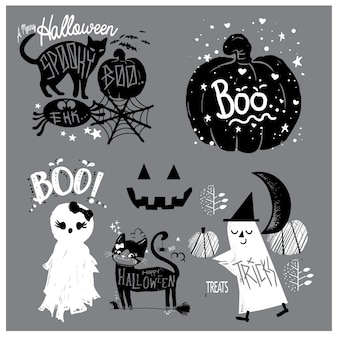 Cute elements hand drawn halloween