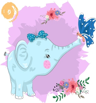 Cute elephant and butterfly cartoon painted