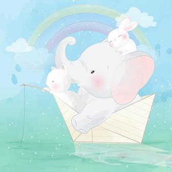 紙の船の中のかわいい象と友人