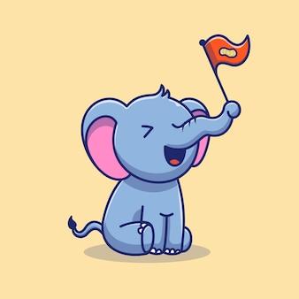 Симпатичные слон и арахис значок иллюстрации. слон талисман мультипликационный персонаж. животное иконка концепция изолированные