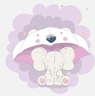 Cute Elephant and umbrella cartoon hand drawn