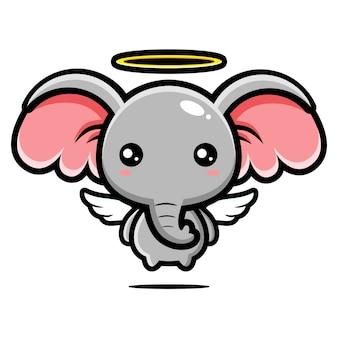 かわいい象の天使のキャラクターデザイン