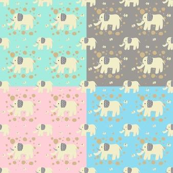 원활한 귀여운 코끼리 동물 만화 캐릭터