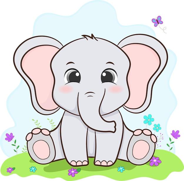 귀여운 코끼리. 아기 동물.