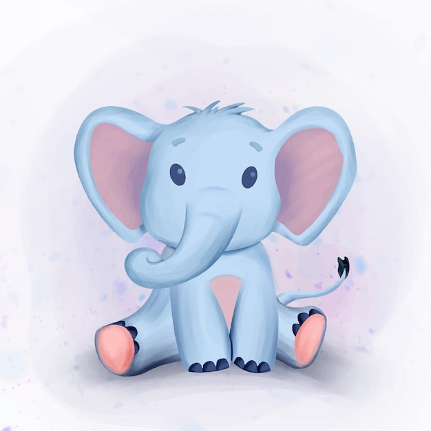 Cute elephant baby shower watercolor illustration