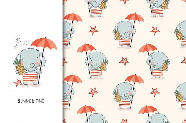 Cute elephant baby with umbrella and pineapple. jungle animal cartoon character and seamless pattern