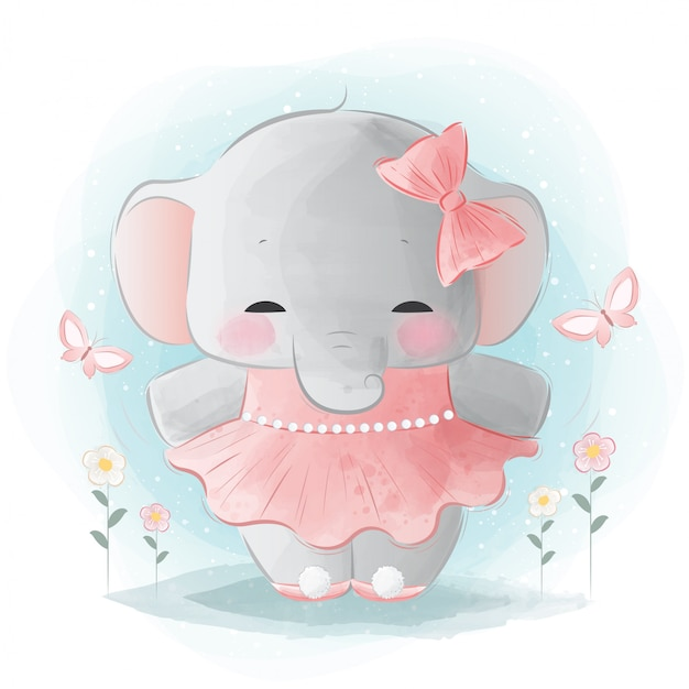 Cute elephant ballerina