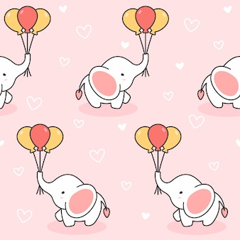 Cute elephant and balloons seamless pattern background