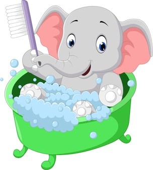 Cute elephant bathing time cartoon