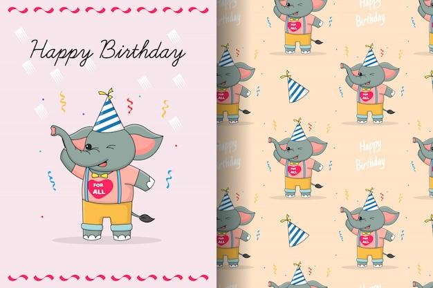 Cute elephant birthday seamless pattern and card