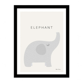 Cute elephant in a black frame