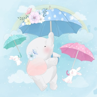 Cute elephant and bunny flying with umbrella