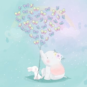 Cute elephant and bunny holding a love shape butterfly
