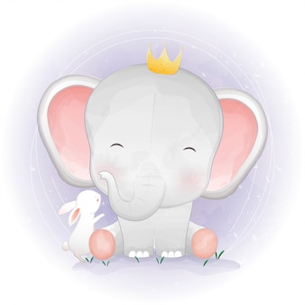 Cute elephant and bunny