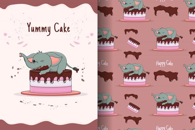 귀여운 코끼리 케이크 원활한 패턴 및 카드