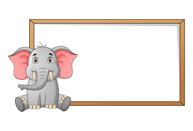 Cute elephant cartoon and blank signboard