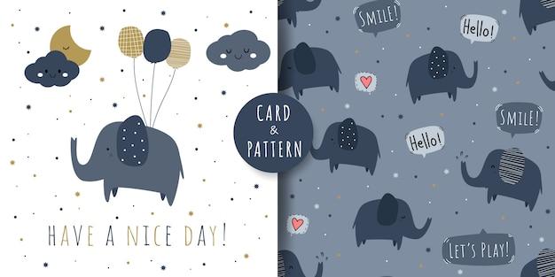 Cute elephant cartoon doodle seamless pattern and card bundle