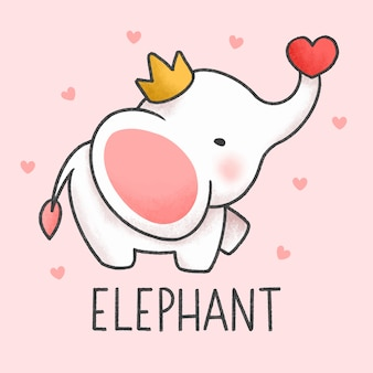 Cute elephant cartoon hand drawn style