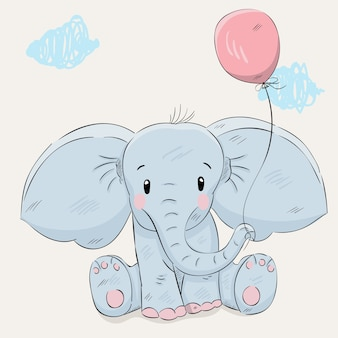 Cute elephant cartoon hand drawn