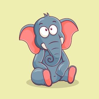 Милый слон мультфильм иллюстрации Premium векторы