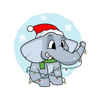 갈 랜드와 모자와 귀여운 코끼리 만화
