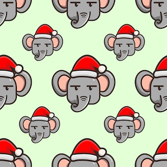 Cute elephant cartoon with hat christmas pattern design