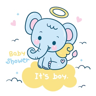 Cute elephant catoon on cloud baby shower boy